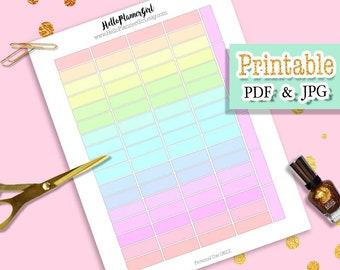 Pastel Quarter Boxes Printable, Unicorn Colors Stickers, Multi Light Tone Colors / Delicate Colors Labels, Soft Rainbow Planner Stickers PDF