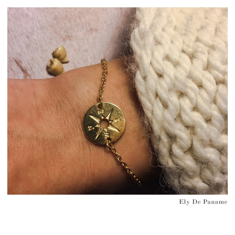 Gold bracelet with fine gold 24k compass chain ideal chic image 0
