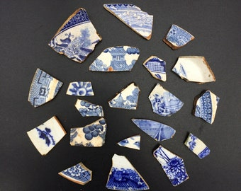 Scottish Sea Pottery Shards, 20 Blue and White China Pieces including Willow Pattern, Ideal for Tumbling, Collage, Mosaic, Jewellery