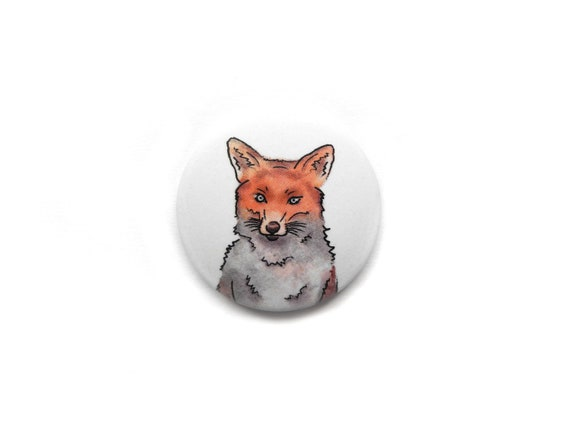 Fox magnet for the refrigerator or whiteboard  Round, Ø 1 26 inch with  comic illustration  Perfect for your office or kitchen!