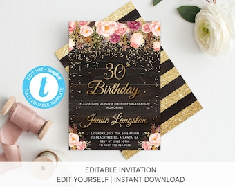 30th Birthday Invitation Female For Her Floral Printable Gold Invite Adult