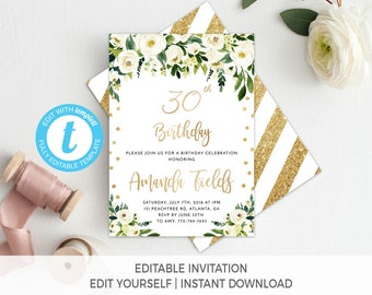 30th Birthday Invitation Template Editable Female Floral Printable White And Gold Invite Templett
