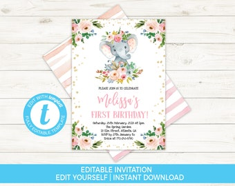 Elephant Birthday Invitation Floral Invite Girl First Template Editable Templett
