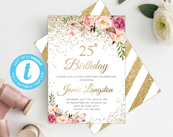 25th Birthday Invitation Women Template Floral Invite Printable Gold Adult