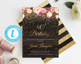 40th Birthday Invitation Women Template Floral Invite Printable Gold Adult