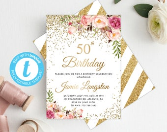 50th Birthday Invitation Women Template Floral Invite Printable Gold Adult
