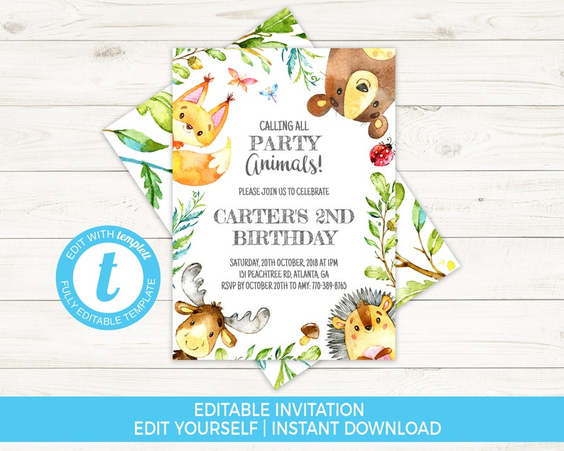Woodland Birthday Invitation Boy Second Invite Forest Animals Template Editable Party Kids