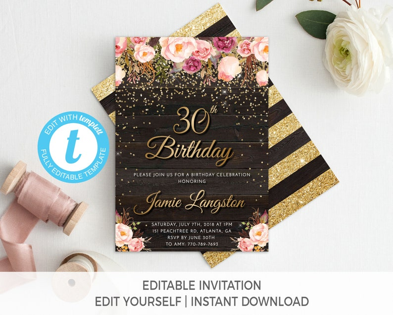30th Birthday Invitation Female For Her