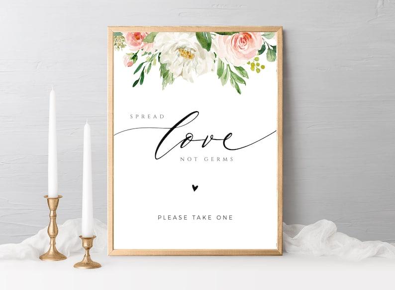 Editable Spread Liebe nicht Keime Hochzeit Zeichen Vorlage
