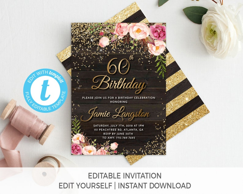 60th Birthday Invitation Female For Her