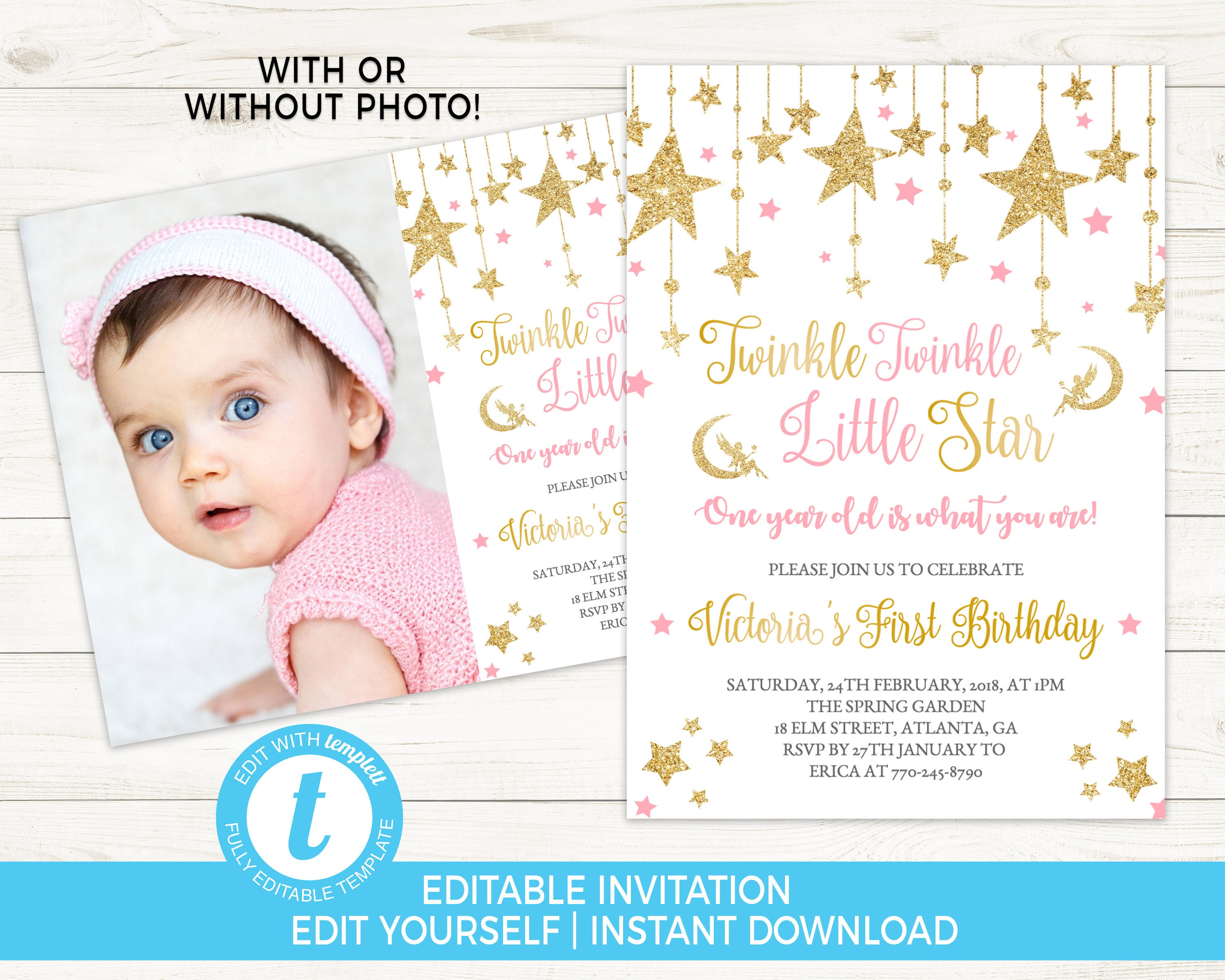 Twinkle Birthday Invite Pink And Gold Invitation Girl