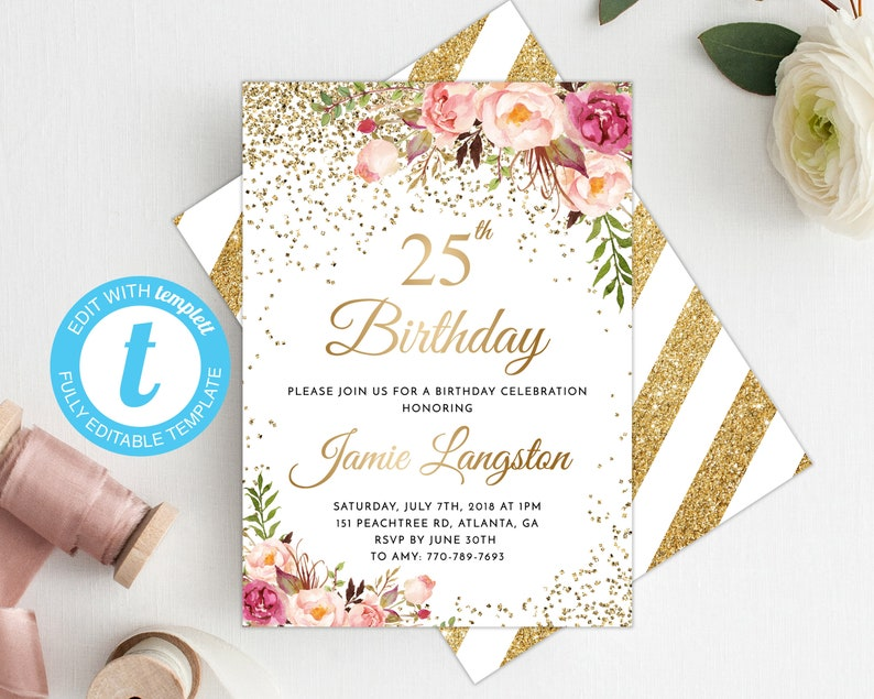 25th Birthday Invitation Women Template