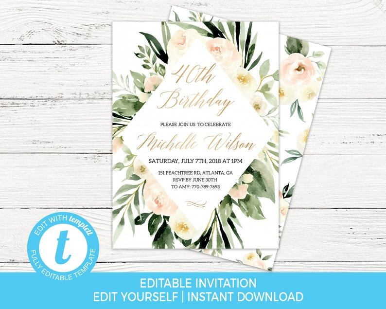 40th Birthday Invitation Template Editable Female
