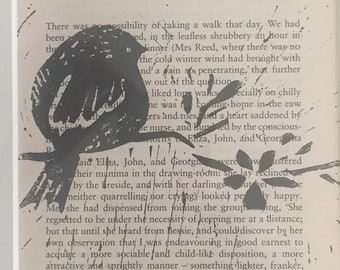 Limited Edition Bird Print on Vintage Book Page Jane Eyre