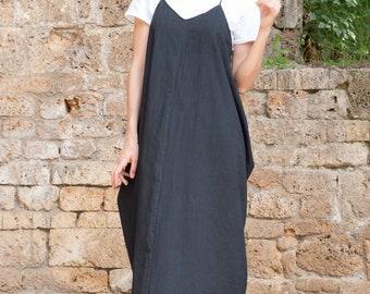 f8d4f382d63 Black Linen Dress ~ Summer Maxi Dress ~ Long Boho Dress ~ Hippie Style ~  Kaftan ~ Loose Fitting ~ Baggy ~ Womens Clothes ~ Tunic ~ Gypsy