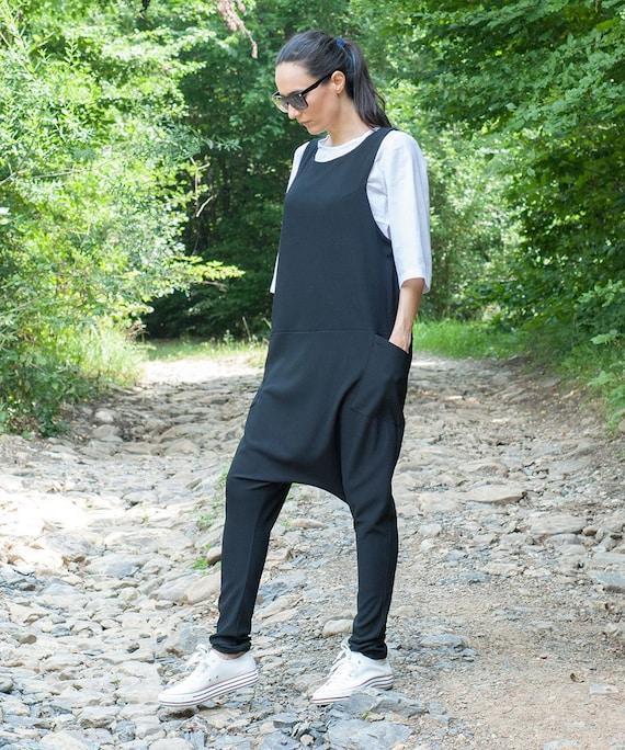 Wide Leg Jumpsuit Boho Jumpsuit Loose jumpsuit Drop Crotch Jumpsuit Double Gauze Cotton Dress Jumpsuit Hippie Dress Harem Jumpsuit