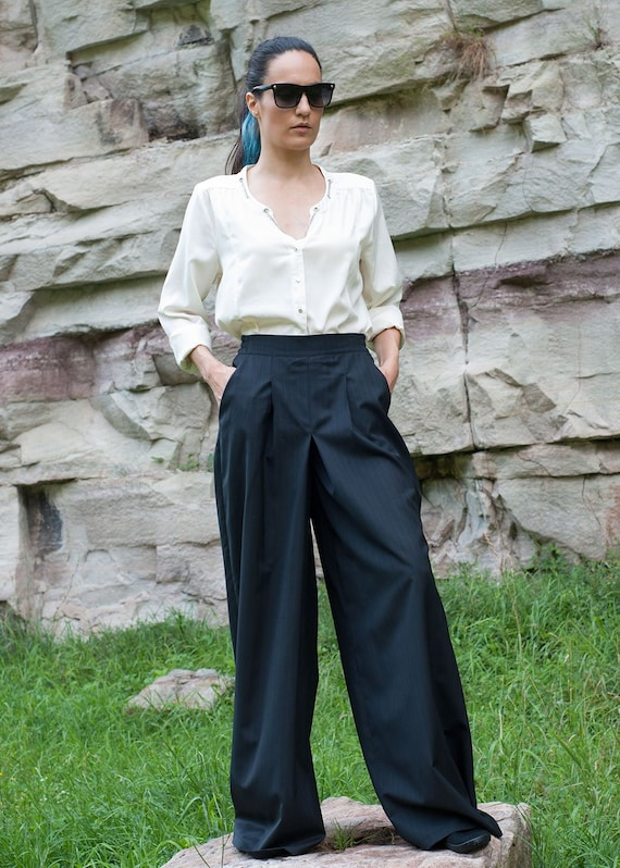 Linen Womens Pants Dark Blue Woman Trousers Wide Leg Linen Pants Ladies Pants Girls Pants with Big Pockets Loose Pants Casual Baggy Pants