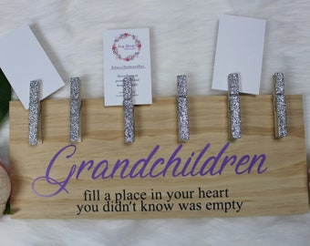 Wooden grandchildren photo stand