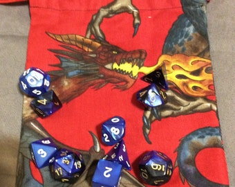 2 Sided Red Dragon Dice Bag Tarot Bag Runes Role Playing Dungeons Dragons  Drawstring Pouch Fantasy Gift 7x5