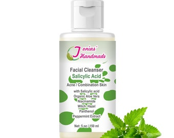 Salicylic Acid Facial Cleanser for Oily Acne Combination Skin, Face and Body Acne