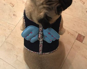 Handmade Dog Harness Gorgeous Pug French bulldog Collar Vest Brand New