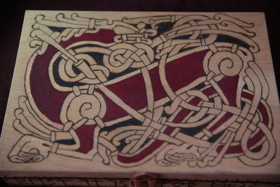 Pirograbada Wooden Box With Viking Motif Etsy
