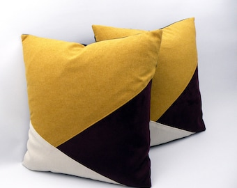 Mustard and Eggplant Cushion Cover Collection Trio 2020