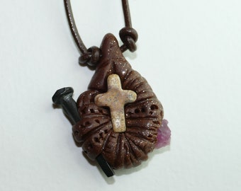 Cross pendant with Jasper cross, nail and pink apatite