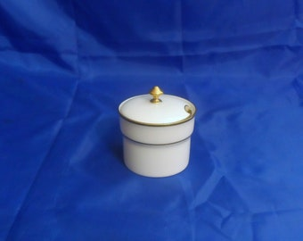 Antique Tiffany and Co by Lenox Jam Jelly Mustard Jar White With Gold Trim and Line Lenox Green Wreath Circa 1906 - 1930