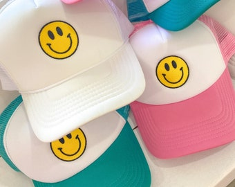 Smiley Hat || Embroidered Smiley Face Trucker Hat || Smiley Face Cap