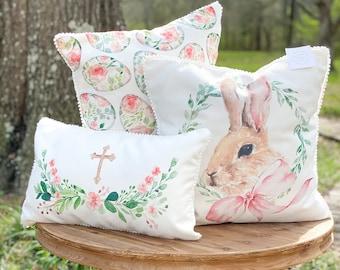 Easter Pillows ||  Bunny Pillow || Floral Egg Pillow || Cross Pillow || Easter Decor