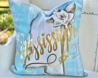 Gold Foil Mississippi Pillow || Mississippi Magnolia Pillow || Mississippi Decor