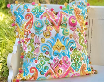 Gold Foil Colorful Damask Pattern Pillow || Colorful Pillow