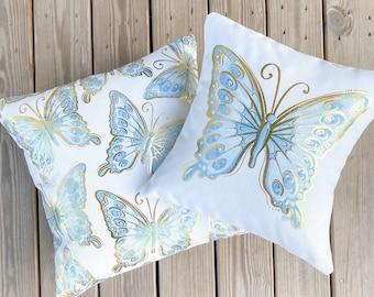 Baby Blue Butterfly Pillows || Gold Foil Butterflies || Nursery Pillows
