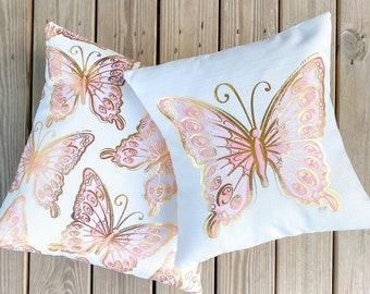 Baby Pink Butterfly Pillows || Gold Foil Butterflies || Nursery Pillows