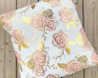 Golden Pink Floral Pillow || Baby Girl Pillow || Nursery Pillow
