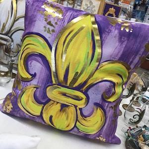 Fleur De Lis Pillow Purple and Gold foil Fleur De Lis Pillow Fleur De Lis Art