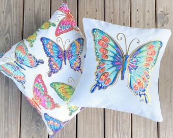Colorful Butterfly Pillow || Butterflies Pillow || Gold Foil Butterflies