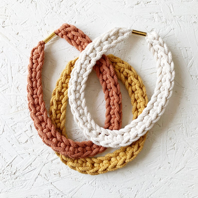 Mustard or Blue Crochet Necklace Blush Coral Chunky Necklace Maxi Crochet Necklace