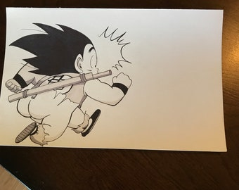 Dragon ball manga cap young Goku butt