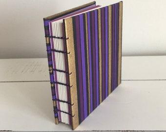 Handmade 4x4 Book - Purple Stripe