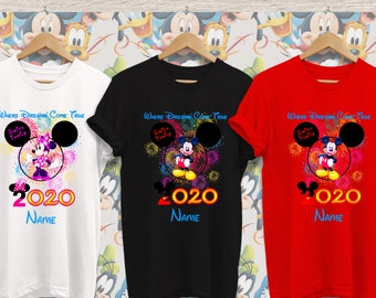 Disney Family Shirts Vinyl Embroidery Mickey Miss Mouse Ears
