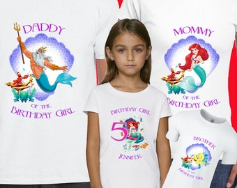 More Colours Ariel The Little Mermaid Birthday Shirt