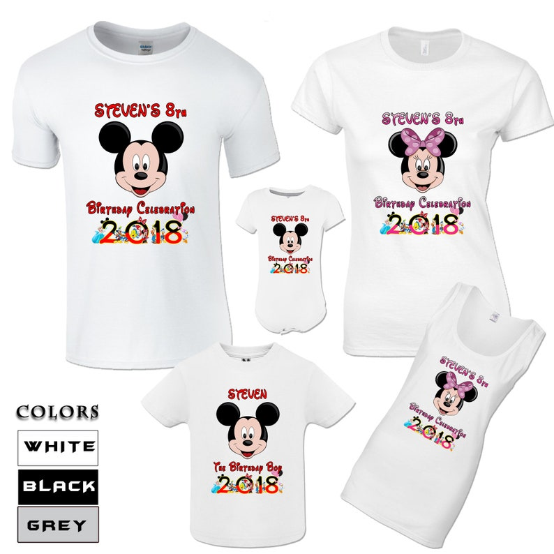 Mickey And Minnie Mouse Birthday Shirts Family