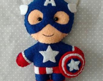 Captain America cute felt keychain