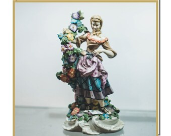 Meissen Porcelain Woman With Flowers