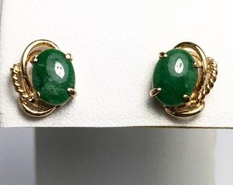 Vintage Natural Jade 14k Gold Earrings