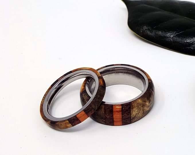 Hand-Carved Matching Wood Bands - Custom Design - Set of Two