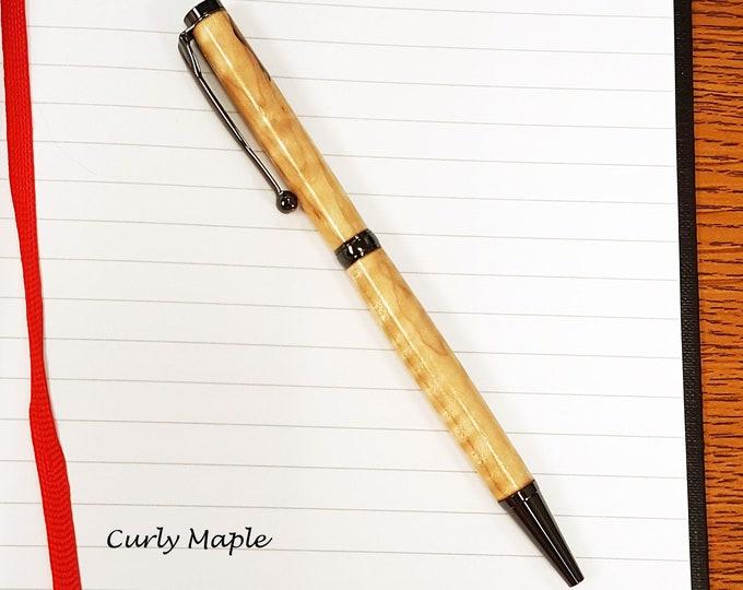 Slim Hand-turned Hardwood Pen - Custom Engraved