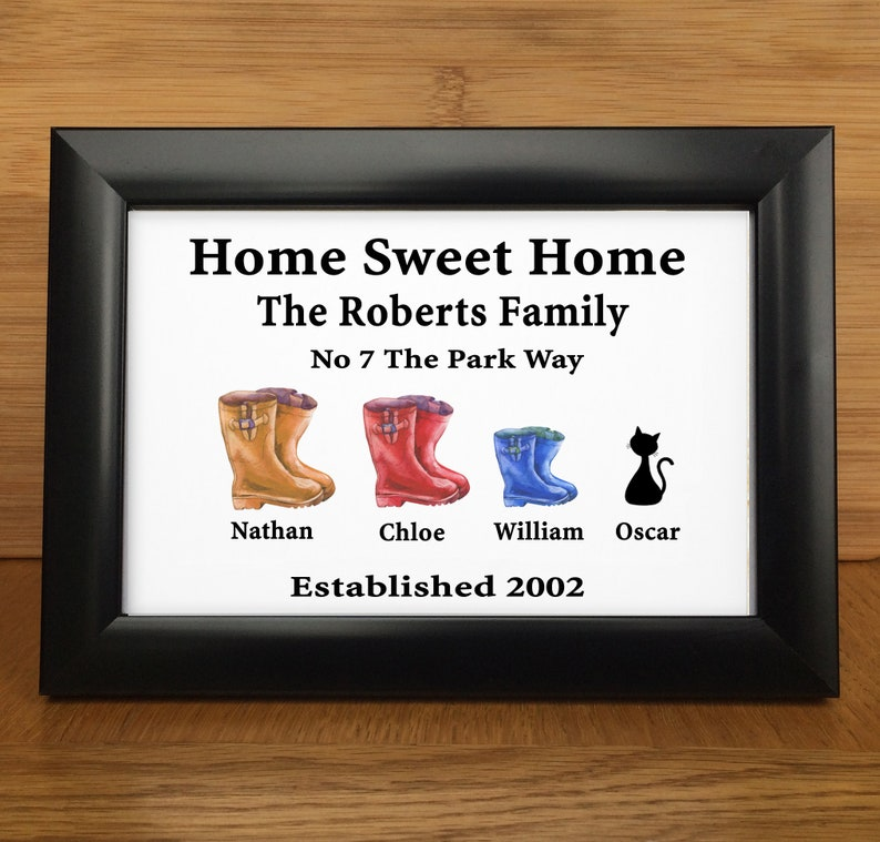 Birthday Gift For Mum Personalised Wellington Boot Print